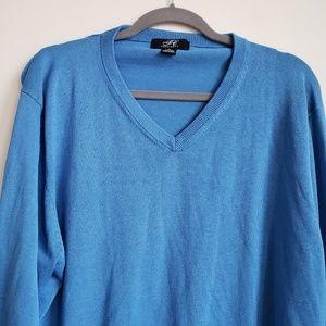 Foxcroft Silk Cotton Vneck Knit Sweater